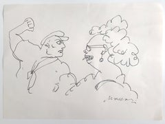 The Couple - Original Pen Drawing by Mino Maccari - 1970s