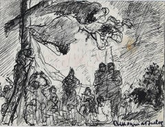 Jesus Christ on the Cross - Original Ink Drawing - Early 20th Century