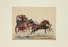 Figures on a chariot - Original Gouache by Michela De Vito - 1820 ca.