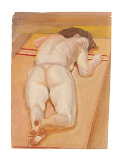 Nude of Lying Girl - Original Mixed Media by Jean-Raymond Delpech - 1940s