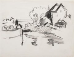 Countryside - Original Charcoal Drawing - Mid-20th Century