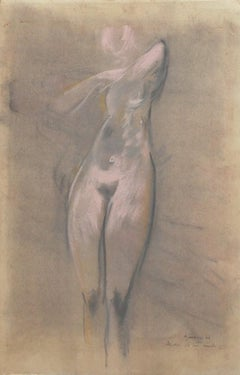 """Nude - Original Pastel Drawing Signed """"Airone"""" - 1962"""