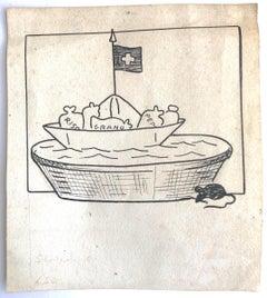 Food from Switzerland - Original Pen Drawing by Giuseppe Scalarini - 1918