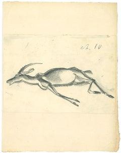Africa - The Gnu - Original Charcoal Drawing by Emmanuel Gondouin - 1930s