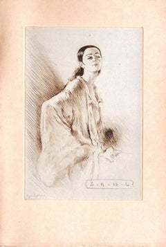 Figure - Original Etching  by Edgard Chahine - Early 20th Century