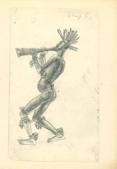 Musician - Original Drawing by Emmanuel Gondouin - 1930s