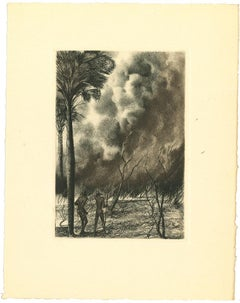 Africa - The Fire - Original Lithograph by Emmanuel Gondouin - 1930s