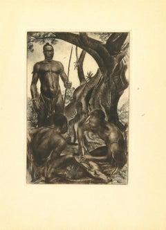 Africa - Hunters - Original Lithograph by Emmanuel Gondouin - 1930s