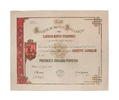 """Original Appointment of G. Garibaldi to the """"Società di Mutuo Soccorso"""" - 1879"""