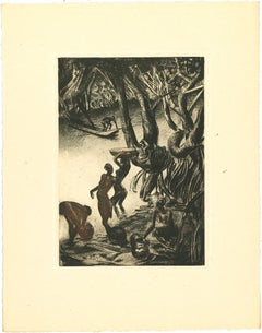 Africa - Woman on the River - Original Lithograph by Emmanuel Gondouin - 1930s