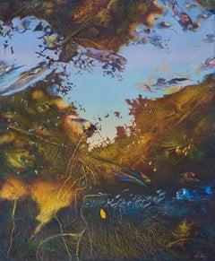 Reflexes - Original Oil Painting on Wood by Franco Mulas - 1998