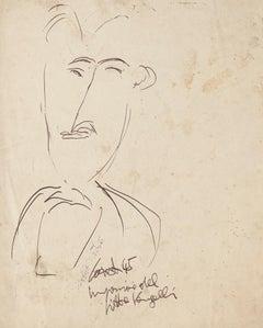 Portrait of Antonio Vangelli - Original Pen Drawing By Antonio Cardile - 1945