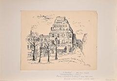 Paris, Houses and Tree - Original Ink Drawing By Orfeo Tamburi - 1935