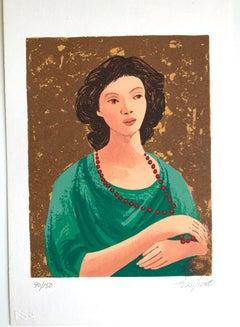 Portrait - Original Lithograph by Domenico Purificato - Early 20th Century