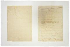 Manuscript Fragment - Vintage Lithograph by Franco Sarnari - 1950s