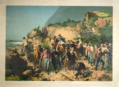 Garibaldi to Aspromonte - Original Oleography by V. Malinverno - 1930s