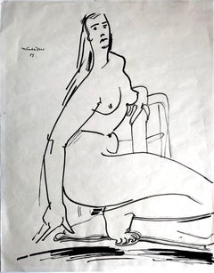 Nude - Original Ink Drawing by Tibor Gertler - 1950s