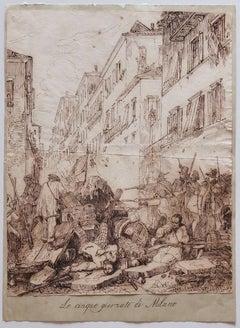 Five Days in Milan - Original Ink Drawing on Paper - 19th Century