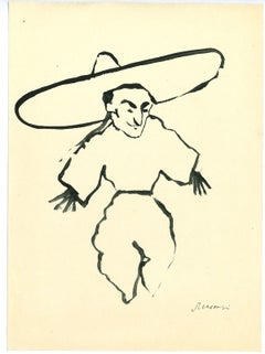 The Scarecrow - Original Tempera Drawing by Mino Maccari - 1960s