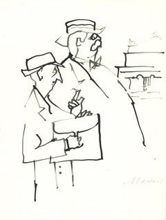 The Doctors - Original Watercolor Drawing by Mino Maccari - 1960s