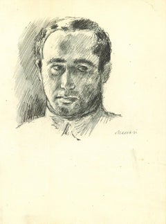 Portrait of Man with Collar - Original Drawing by Mino Maccari - 1960s