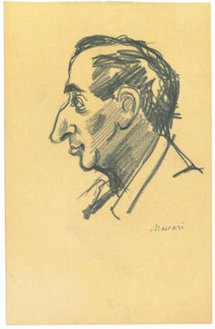 Male Portrait Sketched - Original Drawing by Mino Maccari - 1960s