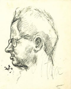 Portrait of Man with Glasses - Original Pen Drawing by Mino Maccari - 1960s