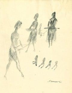 Female Silhouette - Original Watercolor Drawing by Mino Maccari - 1960s
