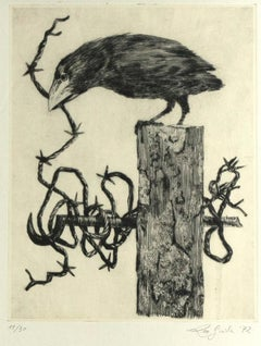 Crow - Original Etching by Leo Guida - 1972