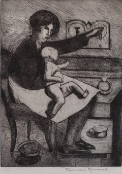 Mother and Child - Original Etching by Romano Romanelli - 1930 ca
