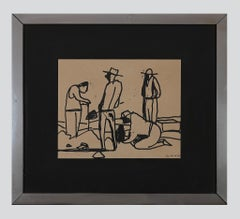 Gold Diggers - Original China Ink Drawing by Brunello Serena - 1970s