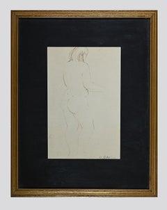 Nude - Original Ink Drawing by Angelo Sabbatani - 1970s