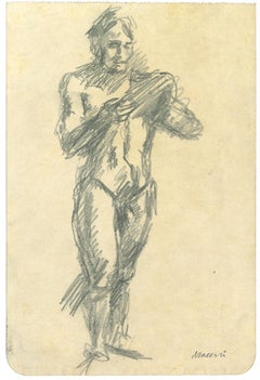 Standing Male Nude - Original Pencil Drawing by Mino Maccari - 1970s
