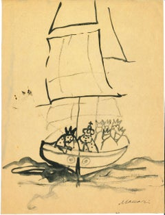 The Ship of the Kings - Original Ink Drawing by Mino Maccari - 1970s