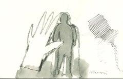 Catching a Shadow - Original Charcoal by Mino Maccari - 1970s