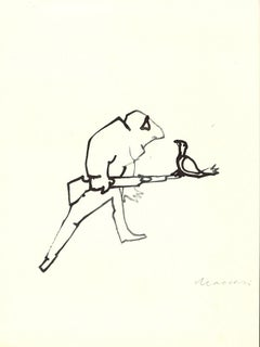 The Hunter in Love - Original China Ink by Mino Maccari - 1970s