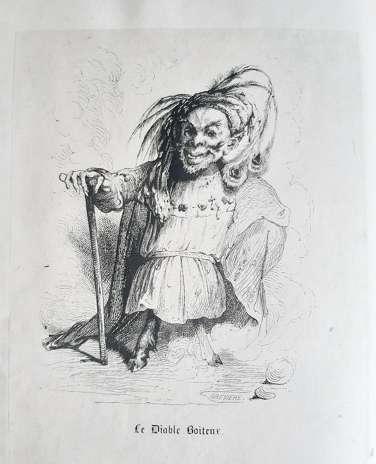 Le Diable Boiteux is an original modern rare book written by René Le Sage (Sarzeau, 1668 – Boulogne-sur-Mer, 1747) and illustrated by Tony Johannot (9 November 1803 – 4 August 1852) in 1840.  Original First Edition.  Published by Bourdin éditeur,