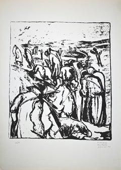 Towards Exile - Original Lithograph by Pietro Morando - 1950s