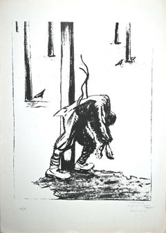 Prisoners - Original Lithograph by Pietro Morando - 1950s
