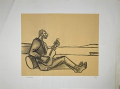 Guitarist - Original Lithograph by Pietro Morando - 1960s