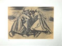 Under the Bombing - Original Lithograph by Pietro Morando - 1950s