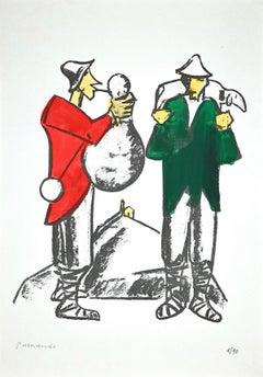 Shepherds - Original Lithograph by Pietro Morando - 1960s