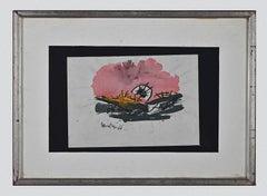 Pink Composition - Original Watercolor by Carlo Montesi - 1966