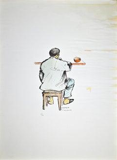 Lunch Break - Original Lithograph by Pietro Morando - 1960s