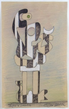 Wood and Enalem - Study for an Abstract Sculpture by Leo Guida - 1980s