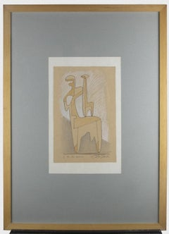Two Essences - Original Pencil and Pastel on Paper by Leo Guida - 1972