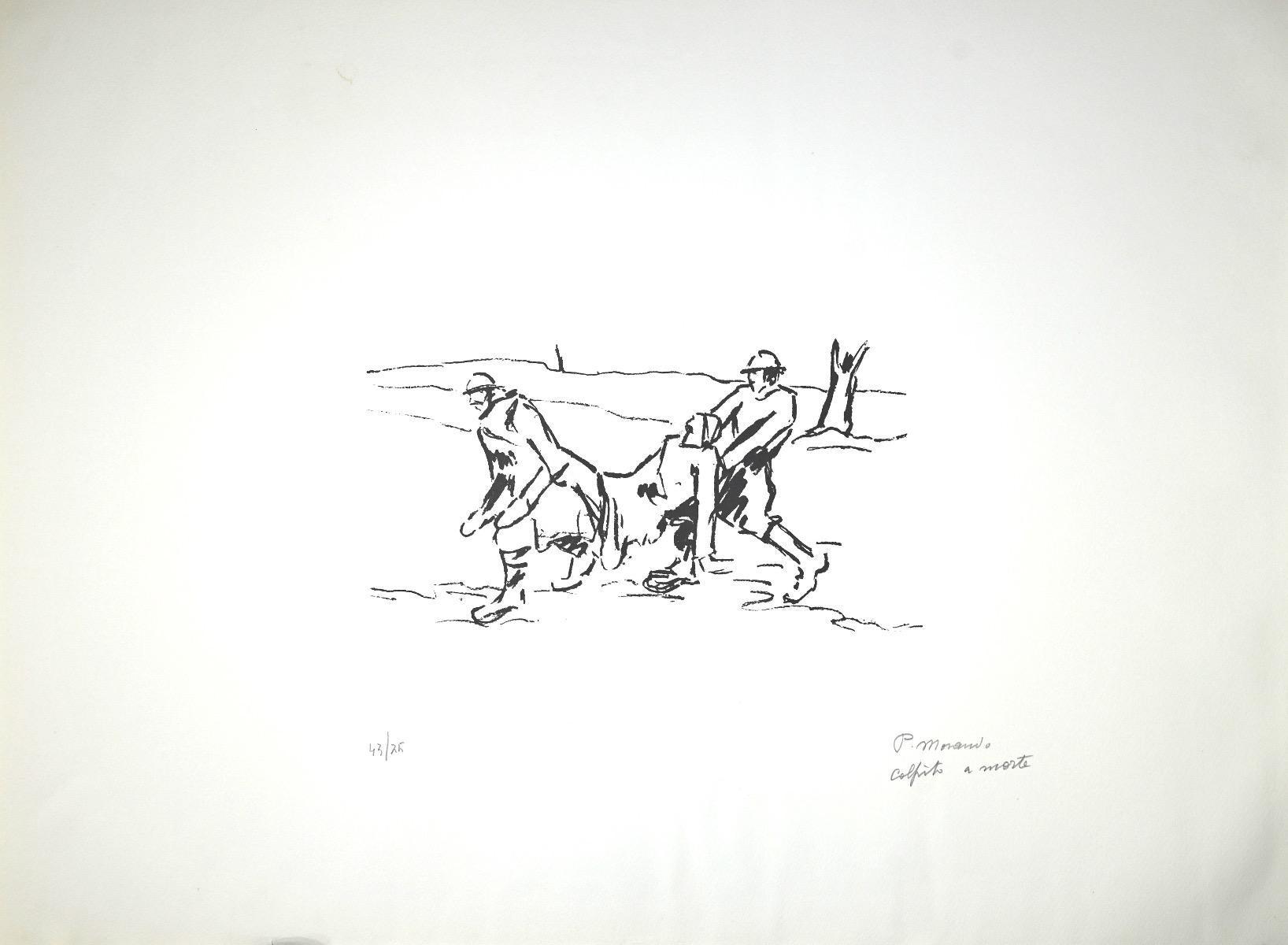 Shot to Death - Original Lithograph by Pietro Morando - 1950s