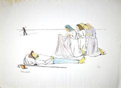 Death of a Farmer - Original Lithograph by Pietro Morando - 1960s