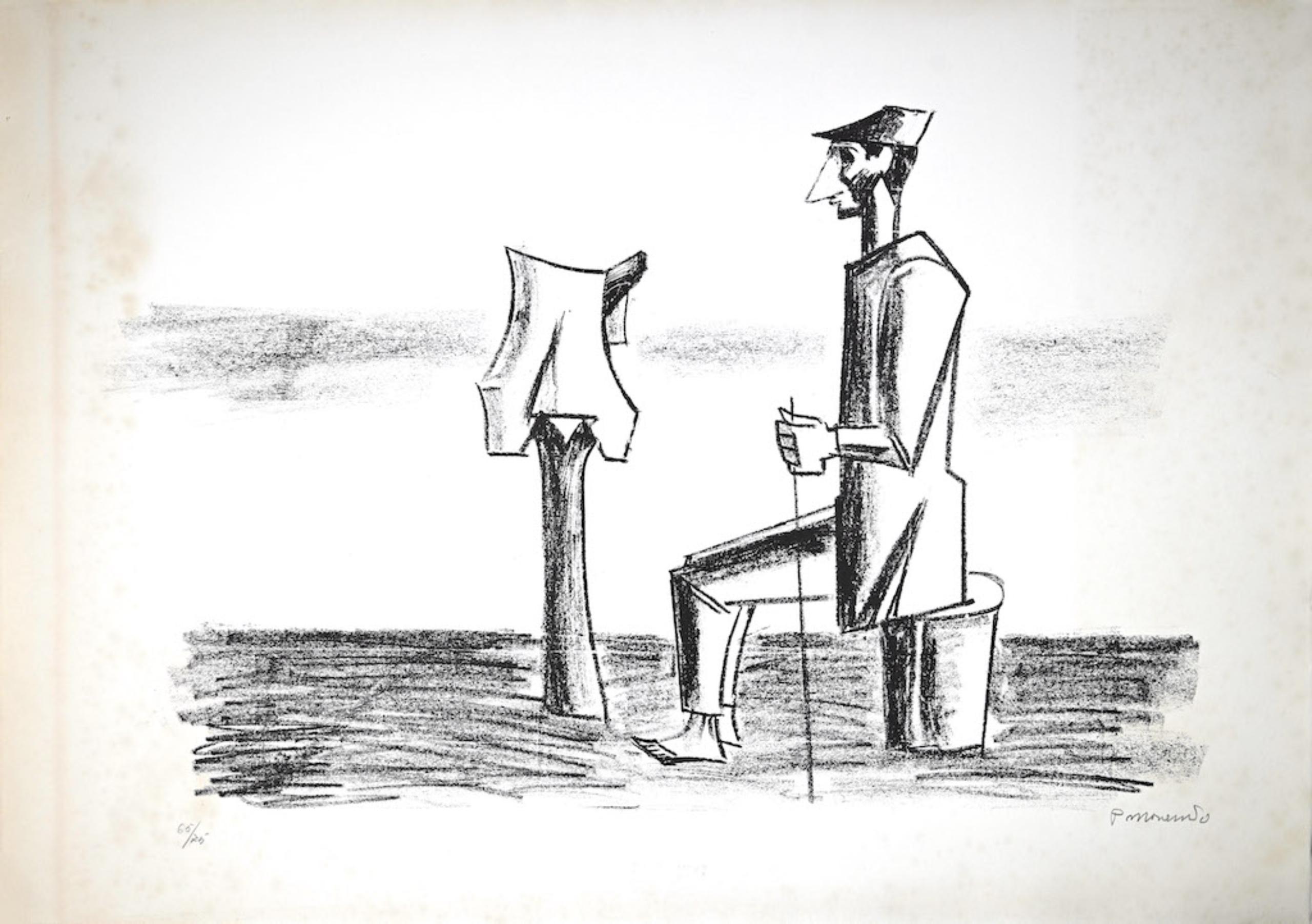 The Scarecrow - Original Lithograph by Pietro Morando - 1960s