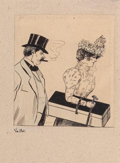 The Couple - Original China ink and watercolor Drawing by L. Vallet - Early 1900